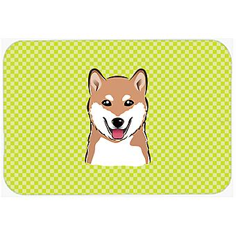 Checkerboard Lime Green Shiba Inu Mouse Pad, Hot Pad or Trivet