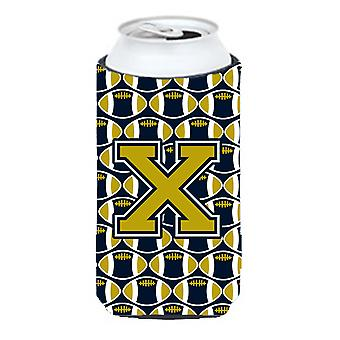 Буква X футбола синий и Золотой Талль Boy напитки изолятор Hugger