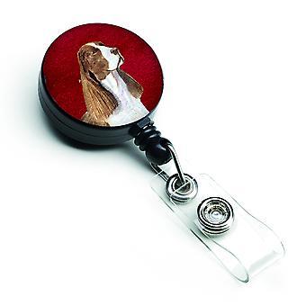 Springer Spaniel retrattile Badge Reel o ID titolare con Clip