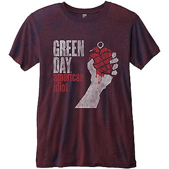 Green Day T Shirt American Idiot Vintage Album Official Mens Burnout slim fit
