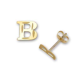 14 k gult guld inledande B stämpling barn örhängen - åtgärder 6x6mm