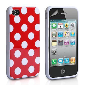 Yousave Accesorios Iphone 4 y 4s Polka Dot funda de Gel - rojo