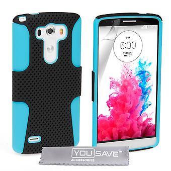 Yousave Zubehör LG G3 hart Mesh Combo Silikon Case - blau-schwarz
