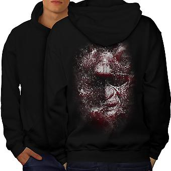 Katana Face Art Fantasy Men BlackHoodie Back | Wellcoda