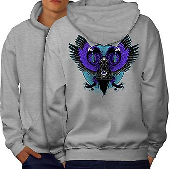 Eagle Triangle Men GreyHoodie Back | Wellcoda