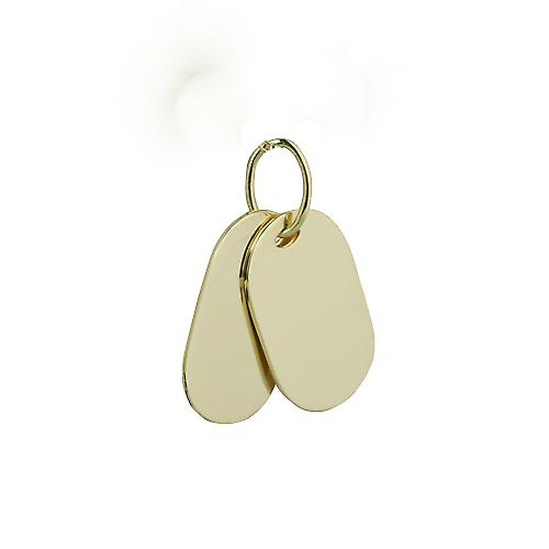 Deux 9ct or 29x17mm plaine rectangulaires ID Tags
