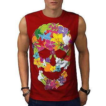 Flower Peace Death Skull Men RedSleeveless T-shirt | Wellcoda