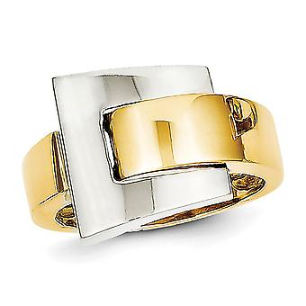 Ladies 14K Yellow and White Gold Polished Buckle Ring