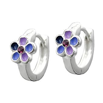Hoop earrings purple lacquered flower silver 925