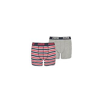 Puma 2-Pack Printed Stripe Boys Boxer Briefs, Red/Grey