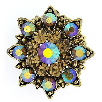 Broscher Store små Topaz guld och AB Crystal Starburst snöflinga blomma brosch