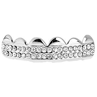 One Size Fits All Bling Grillz - DOUBLE DECK TOP - Silber