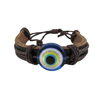 Adjustable Evil Eye Leather Bracelet