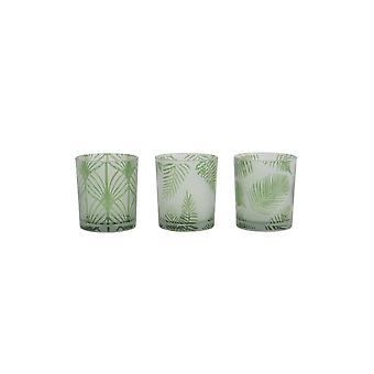 Light & Living Tealight S/3 Ø7x8 Cm FOLHAS Glass Green