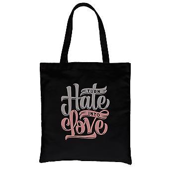 Hate Turn Love Black Canvas Shoulder Bag