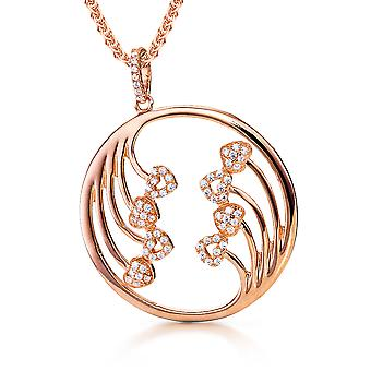 Orphelia Silver 925 Pendant With Chain Circle And Hearts Rosegold Plated Zirconium  ZH-7238
