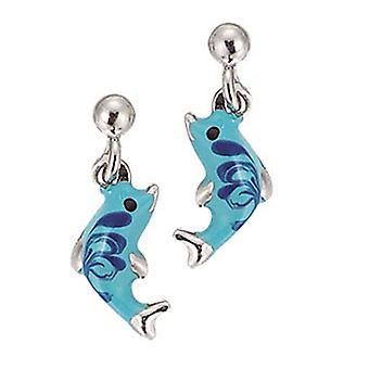 Scout Kinder Ohrringe Ohrstecher Silber Delphin türkis blau Mädchen 262036100
