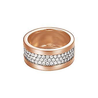 ESPRIT women's ring silver Rosé Zirkonia pure pave wide ESRG92215C1