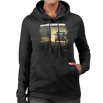 Dodge Truck Distressed Edge Dusty Road Women's Hooded Sweatshirt