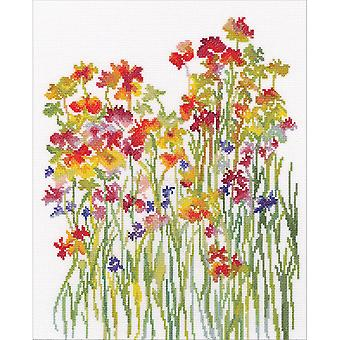 Flower Watercolour Counted Cross Stitch Kit-10.5