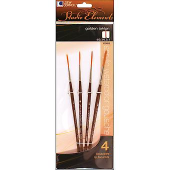 Studio Elements Golden Taklon Brush Set-4/Pkg