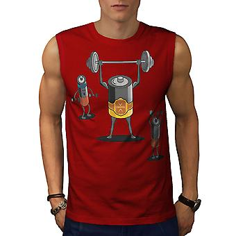 Heavy Duty Battery Men RedSleeveless T-shirt   Wellcoda