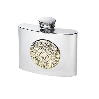 Celtic Kidney Pewter Flask with Embossed Brass Badge - 2oz