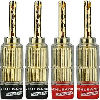 Oehlbach 3021 Audio jack Plug, straight Red, Black 4 pc(s)