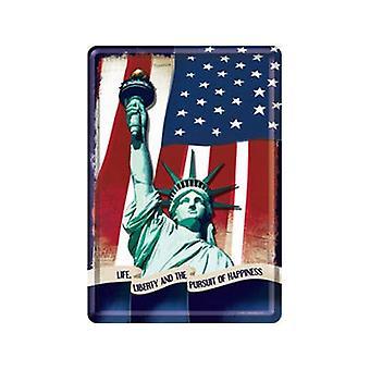 Statue Of Liberty Metal Postcard / Mini-Sign