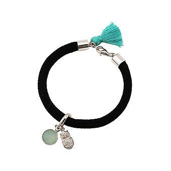 Gemshine - dames - armband - 925 zilver - edelsteen - Aqua Chalcedoon - uil - groen - zwart