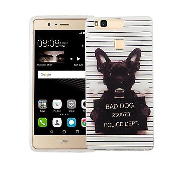 Mobile Shell for Huawei P9 Lite cover case protective bag motif slim TPU + armor protection glass 9 H bad dog white