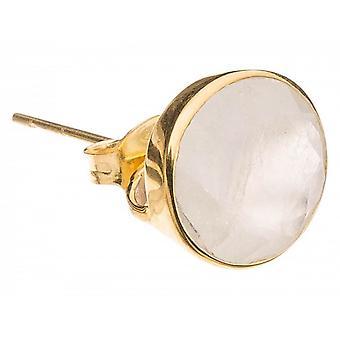 Paar Damen - Ohrringe - 925 Silber vergoldet - Mondstein - Weiss - 13mm