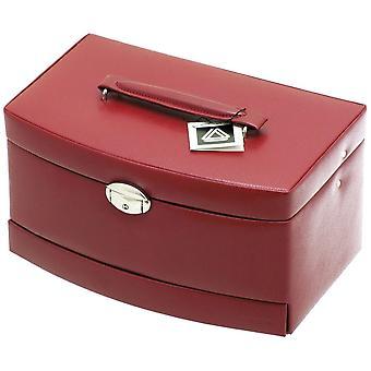 Davidt van sieraden geval sieraden doos rode travel case lock spiegel