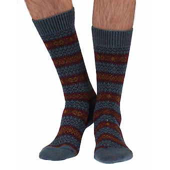Felbrigg warm men's Fairisle wool boot sock in petrol | By Scott-Nichol