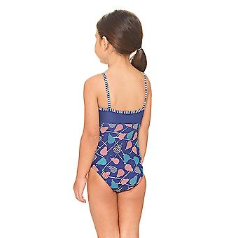 Zoggs Pears Classic back Swimsuit Navy / Multi Colour with Slim Straps - Chlorine Proof