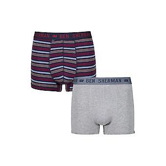 Ben Sherman ondergoed mannen 2 Pack Boxer Trunk broek Marine grijs vlakte Whittaker