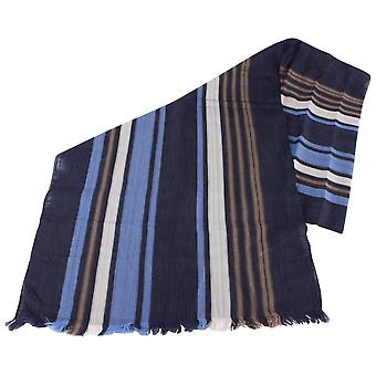 Bassin and Brown Livingstone Large Stripe Cotton Scarf  - Navy/Blue/Beige