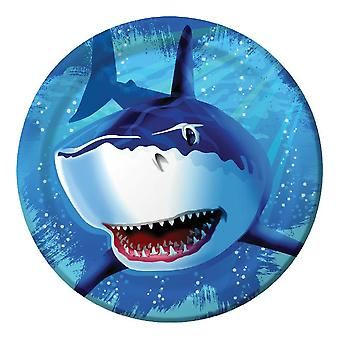 Shark shark party plate 23 cm 8pcs shark shark party birthday decoration