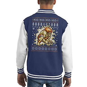 Street Fighter Christmas Blanka KO Knit Pattern Kid's Varsity Jacket