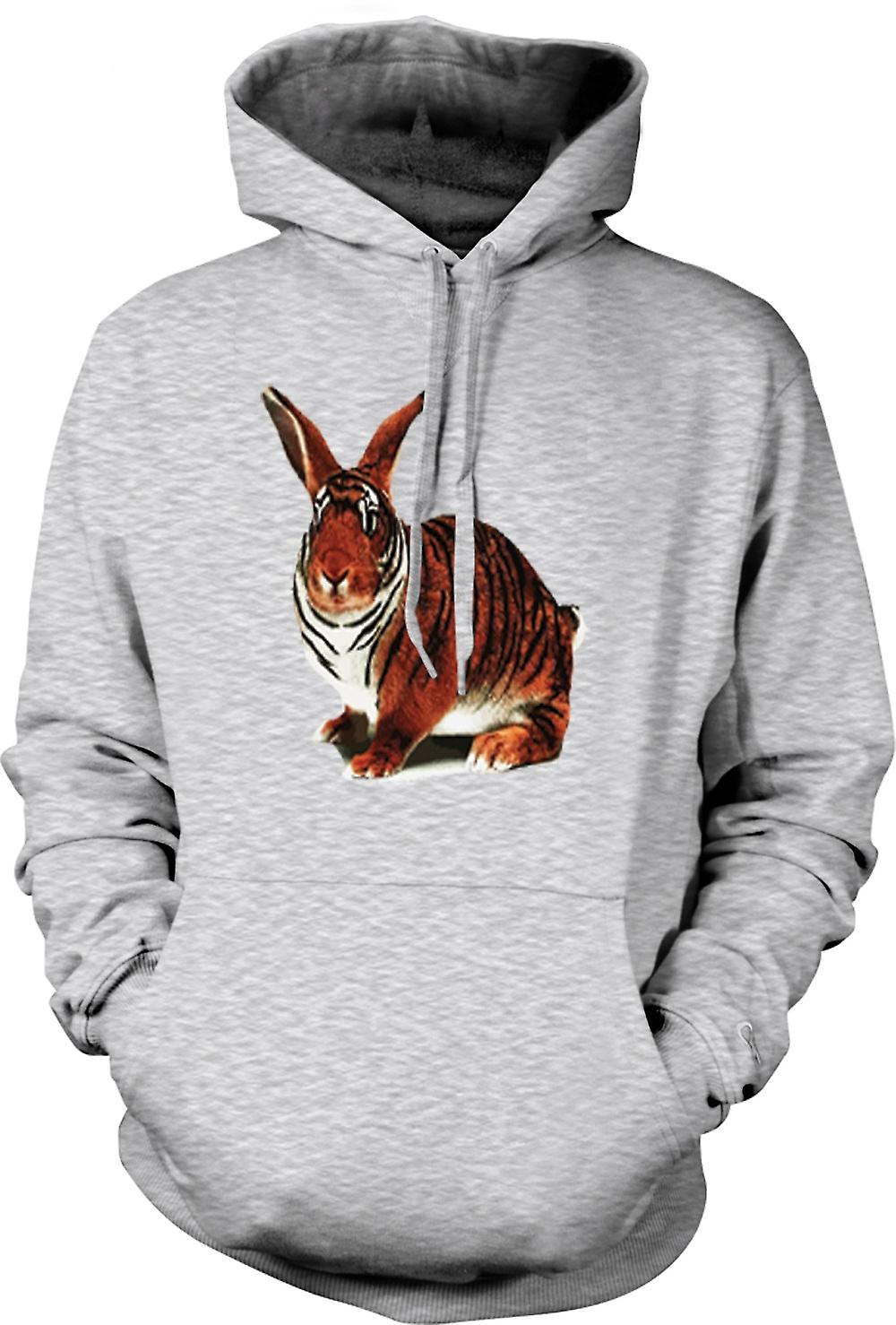 Mens Hoodie - Tiger Rabbit Pop Art Design