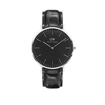 Daniel Wellington Classic Black Reading Stainless Steel Leather Strap Unisex Watch DW00100135 40mm Case