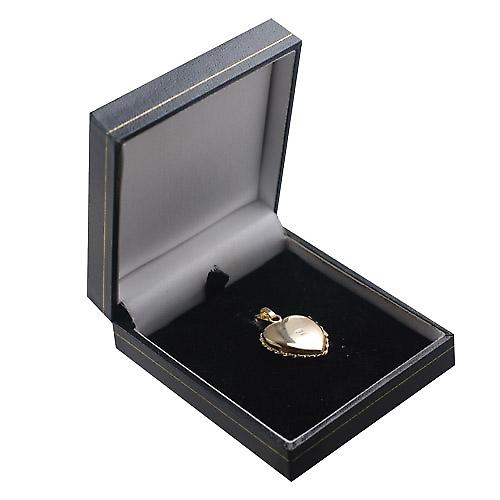 9ct Gold 23x21mm engraved twisted wire edge heart shaped Locket