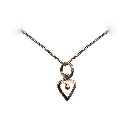 9ct Gold 8mm heart symbol of charity Pendant with a curb chain