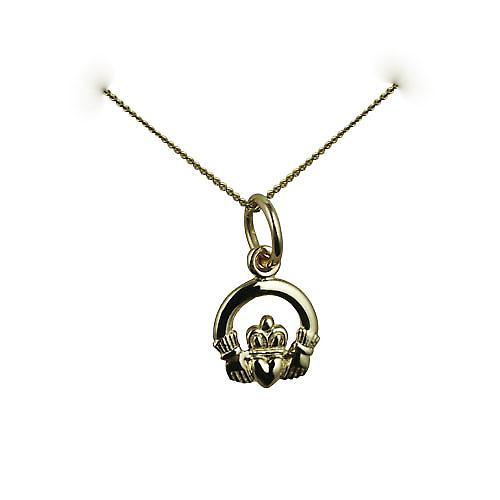 9ct Gold 8x6mm Claddagh Pendant with a curb chain