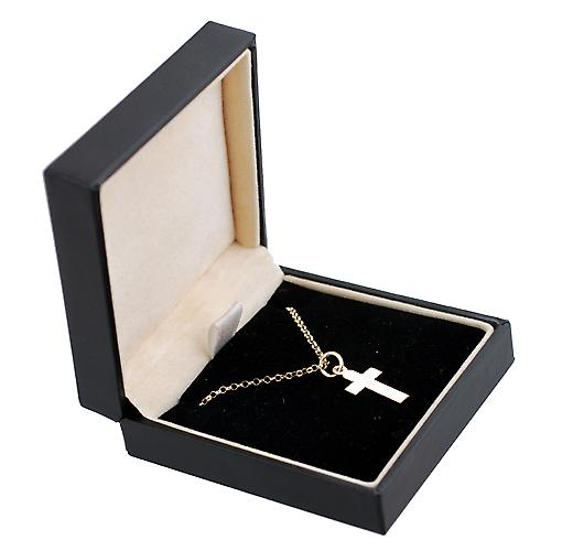 9ct Gold 15x11mm plain flat latin Cross with belcher Chain 16 inches Only Suitable for Children