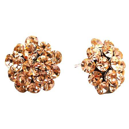 Flower Shaped Embedded Peach Crystals Sparkling Dazzling Stud Earrings