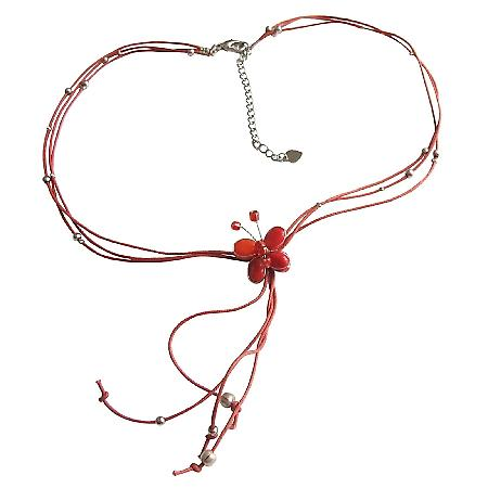 Red Butterfly Necklace w/ Beautiful Tassel Necklace