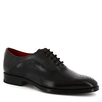 Leonardo Shoes Men's handmade square toe half brogue shoes in black calf leather