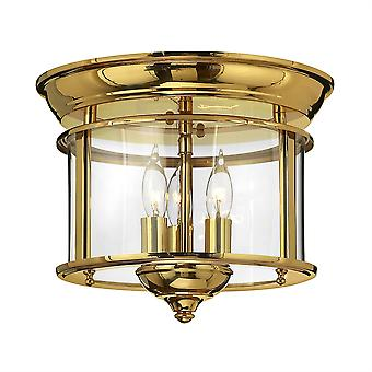 Elstead-3 luce Flush Mount soffitto in ottone lucido-HK/GENTRY/F PB