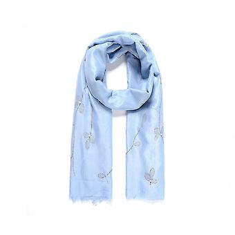 Intrigue Womens/Ladies Glitter Leafy Scarf With Faux Pearls